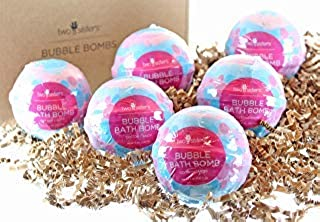6 Cotton Candy Bubble Bath Bombs by Two Sisters Spa. 6-5oz Large 99% Natural Fizzies For Women, Teens and Kids. Moisturizes Dry Sensitive Skin. Releases Lush Color, Scent, and Bubbles.