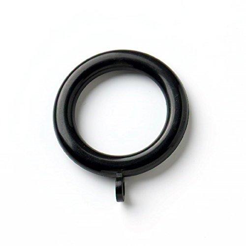Bulk Hardware BH03245 kunststof gordijnroede ringen met vast oog, binnendiameter 37 mm (1,7/16 inch) buitendiameter 50 mm (2 inch) - zwart, 24 stuks