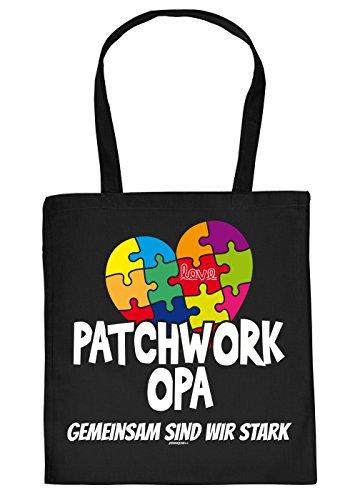 Opa Geschenk Tasche - Sprüche Baumwolltasche : Patchwork Opa gemeinsam - Einkaufstasche Geschenktasche Großvater + Urkunde Farbe: Schwarz