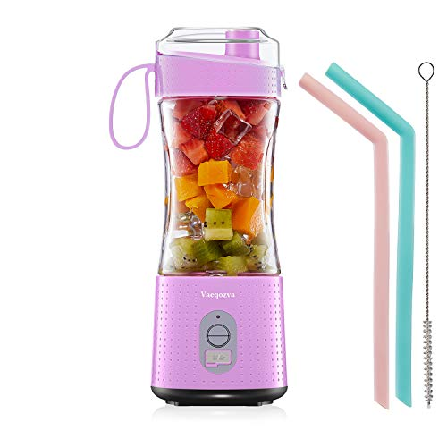 Portable Blender for Smoothie and Protein Shakes - Vaeqozva Personal Mini Fruit Mixer 4000mAh USB Rechargeable On The GO Handhold Juice Cup 13Oz Bottle for Travel Home Office Outdoors Chic Pink