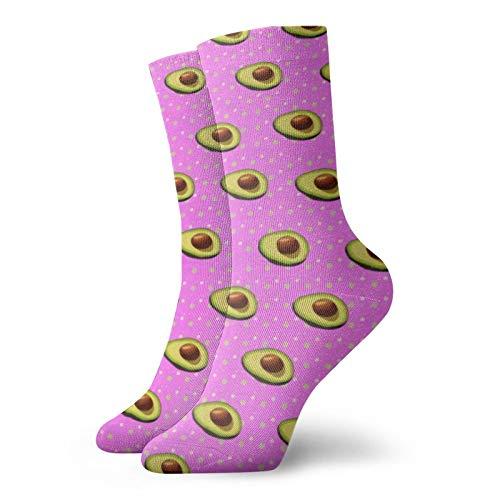 Unisex Crew Socks 11.8 Inch Avocado Pink Running Tube Sock Sport Tube Stockings Workout Dress Socks for Mens Womens All season Christmas