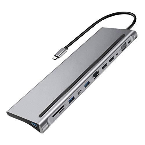 LUOSHEN Tipo C HUB USB3.0 EstacióN de Acoplamiento MST Multi Dual HDMI-Compatible 4K RJ45 VGA TF USB C HUB para Pro/Air Computadora PortáTil PC