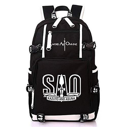 Xcmlz Sword Art Online Sao Anime Travel Bag Juego Patrón Mochila Mochila Mochila Escolar para Estudiantes Niñas Niños 3