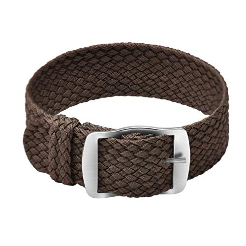 ULLCHRO Unisex Perlon Nylon Armband mit Edelstahl Silberne Schnalle 20mm Braun