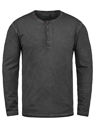 !Solid Timur Herren Longsleeve Langarmshirt Shirt Mit Grandad-Ausschnitt Und Brusttasche Aus 100% Baumwolle, Größe:L, Farbe:Black (9000)