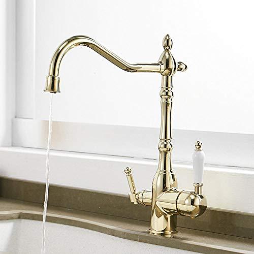 Grifo 3 vias osmosis con dos salidas combinadas caliente fría agua Pura 3 En 1 con sistema de osmosis-grifo cocina dorado