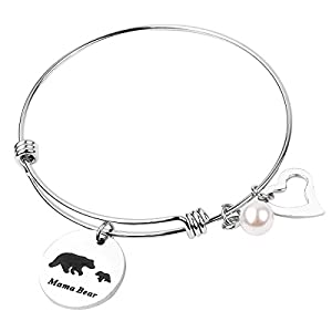REEBOOO Mama Bear Necklace Gifts for Mom Valentine's Day Gift Jewelry Mother's Day Gift