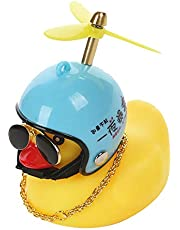 lefeindgdi Pequeño pato amarillo decoración de coche, cortavientos patito con casco, accesorios de coche, juguete de pato de goma para coche, motocicleta, bicicleta de montaña