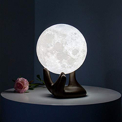 BRIGHTWORLD Moon Lamp, 3.5 inch 3D Printing Lunar Lamp Night Light with Black Hand Stand as Kids Women Girls Boy Christmas Gift, USB Charging Touch Control Brightness Two Tone Warm Cool White