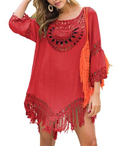 L-Peach Damen Sommer Crochet Tunika Sommerkleid Strandkleid Strandponcho Strand Bikini Cover Up