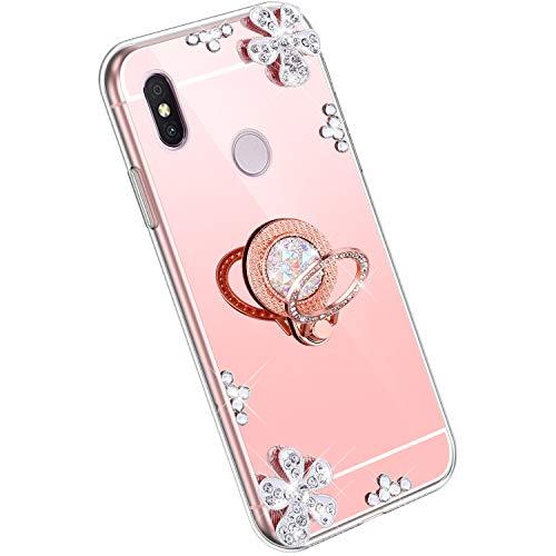 Ysimee Spiegel Hülle kompatibel mit Xiaomi Redmi S2 [Ring Holder], Dünne Handyhülle Xiaomi Redmi S2 Bling Glitzer Diamant Hülle mit 360 Grad Ständer Kratzfest Stoßdämpfend Schutzhülle, Roségold