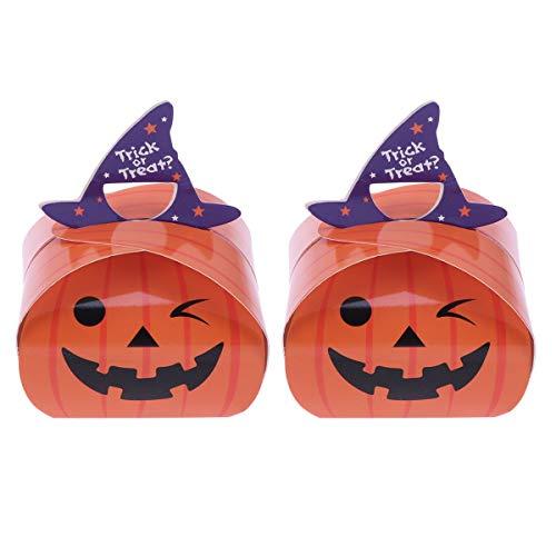 YARNOW Bolsa para doces de Halloween - 25 peças de caixas de biscoito de Halloween com estampa de abóbora, recipiente para doces de papel faça você mesmo, caixa de presente para festas