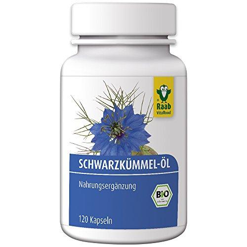 Raab Vitalfood Bio Schwarzkümmelöl-Kapseln, 120 Stück, schonend kaltgepresst, glutenfrei, natürliche Quelle für Linolsäure, 89 g