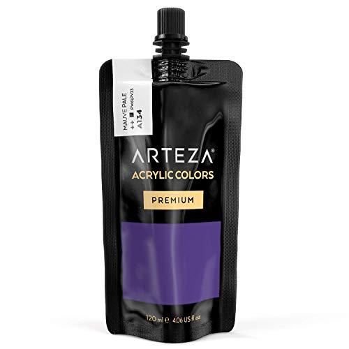 ARTEZA Acrylic Paint Mauve Pale Color (120 ml Pouch, Tube), Rich Pigment, Non Fading, Non Toxic, Single Color Paint for Artists & Hobby Painters