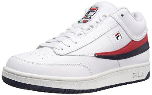 Fila Men's T-1 MID Fashion Sneaker, White Navy Red, 9 M US