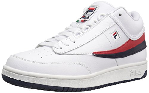 Fila Men's T-1 MID Fashion Sneaker, White Navy Red, 9 M US