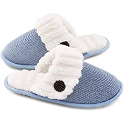 blue soft slippers with button, faith gifts