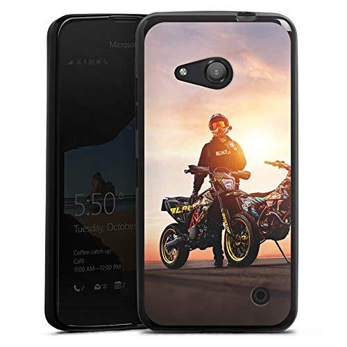 DeinDesign Silikon Hülle kompatibel mit Microsoft Lumia 550 Hülle schwarz Handyhülle Blackout Landratte Motorrad