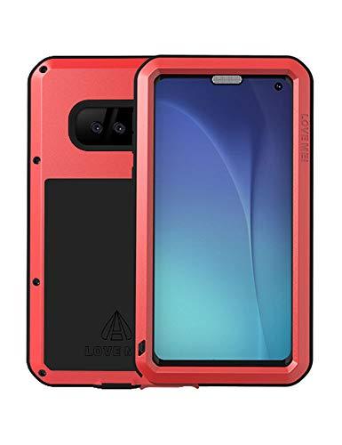 FONREST Completo Funda para Samsung Galaxy S10e, Love Mei 5,8-Pulgada Antichoque Al Aire Libre Híbrido Aluminio Metal Antipolvo Carcasas con Vidrio Templado, Soporte de Carga inalámbrica (Rojo
