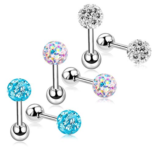 Studs Earrings Set Screw on Backs for Women Hypoallergenic Helix Tragus Cartilage Piercing 18g ZHYAOR (3pairs-mixed color)
