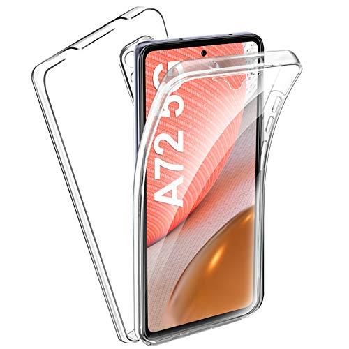 AROYI Funda Compatible con Samsung Galaxy A72 5G, Ultra Slim Doble Carcasa Protector Transparente TPU Silicona y PC Dura Resistente Anti-Arañazos Protectora Case Cover Compatible con Galaxy A72 5G