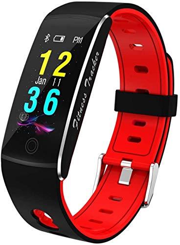 JSL Reloj de pulsera de fitness – Pulsera inteligente con Bluetooth y control de frecuencia cardíaca, resistente al agua, cristal templado, tamaño rojo_size