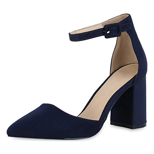 SCARPE VITA Damen Spitze Pumps Chunky High Heels Blockabsatz Party Schuhe 174790 Dunkelblau 39