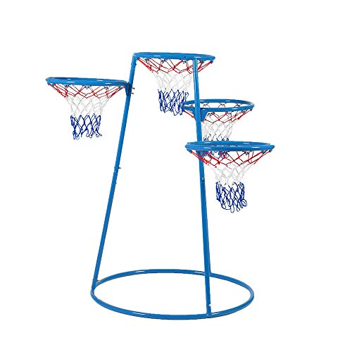 """Angeles 4-Rings Basketball Stand with Storage Bag – 48"""" by 36"""" by 54"""" - for Ages 3+ – with 4 Hoops at Varying Heights, Ball Storage Bag - Encourages Active Play, Hand-Eye Coordination – Non-Tip Base"""