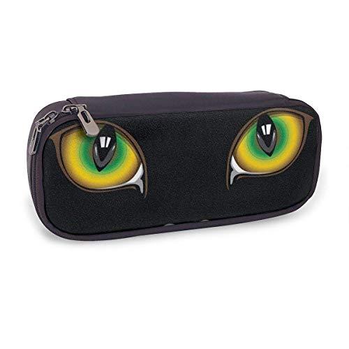 Estuche Escolar de Gran Capacidad,Ojos de Gato,Bolsa de Lápiz Organizador para Material Papelería con Cremallera Doble