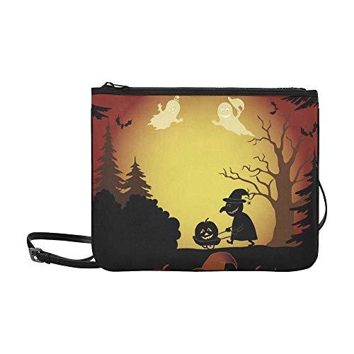 Halloween Cartoon Landschaft Silhouetten Bäume Geister Benutzerdefinierte hochwertige Nylon Schlanke Handtasche Umhängetasche Umhängetasche