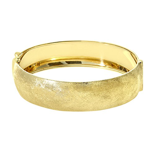 Citerna Yellow Gold Plated Silver 1.7 cm Wide Brushed Dome Bangle
