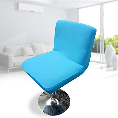 XCVB Krukhoes Stretch Barkruk Lage rug Korte stoel Stoelhoes Eetkamerstoel Hoes ontwerp met elastische band, blauw