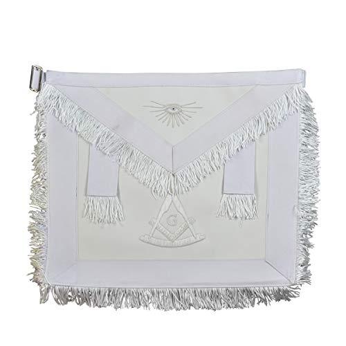 Fringed Past Master with G Masonic Apron - [White]