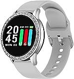 CNZZY Orologio intelligente da donna alla moda con cardiofrequenzimetro, contapassi, Bluetooth Smart Watch per IOS Android, E(D)