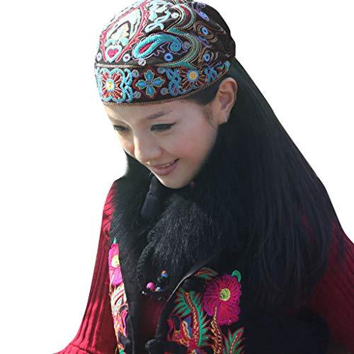 Nyuiuo Señoras Estilo étnico Retro impresión Bordado Flor Turbante Sombrero Gorra Cabeza Sombrero protección Exterior Gasa a Prueba de Viento algodón cálido
