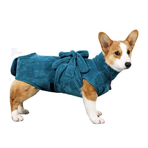 FEimaX Albornoz para Perros Toalla Cobija Pijama de Perro Ajustable Chaqueta Súper Absorbente Secado Rápido Mantener Caliente Suave Accesorios de Baño Gato Cachorros (L)