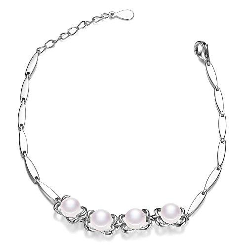 Sweetiee–Braccialetto in Argento Sterling 925, catenina Orne di fiore ajouree con perla d' acqua dolce, Platino, 170mm