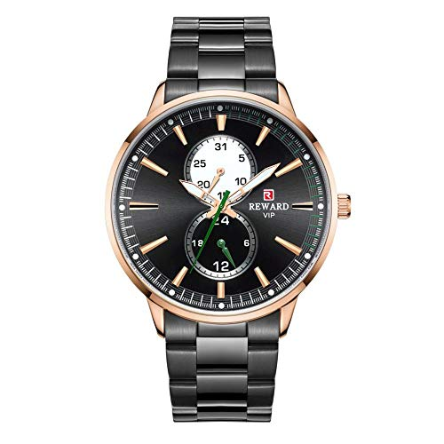 Relojes para Hombre Cronógrafo de Acero Inoxidable 30M Reloj Deportivo de Moda a Prueba de Agua Crono de Cuero para Hombre -C