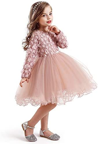 NNJXD New Lace Flower Girl Dress Winter Long Sleeve Three Dimensional Petals Pompom Net Yarn product image