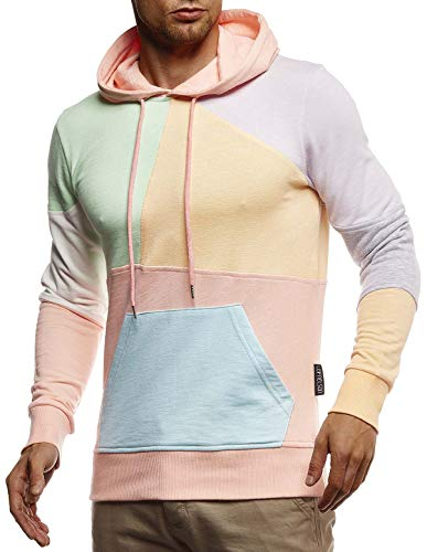 LEIF NELSON Men's Casual Hoodie Longsleeve Pullover Sweatshirt Sweater For Men Slim Fit LN-8344; Size XL, Pink