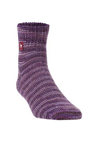 APU KUNTUR Alpaka Freizeit-Socken f�r Damen und Herren Haus-Str�mpfe aus violett-melierter Alpaca-Wolle