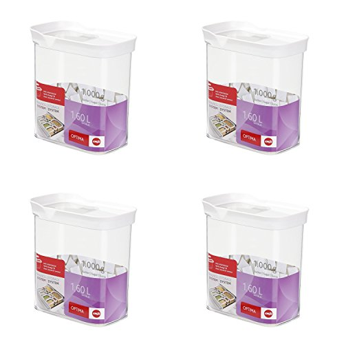 Emsa 514551 'Optima' Schüttdose mit Schiebedeckel, 1,6 Liter, rechteckig, klar/weiß (4er Pack)