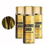 Pintura Spray 400ml para Metal/Madera/Plástico (Cromo Oro, 3 Botes)