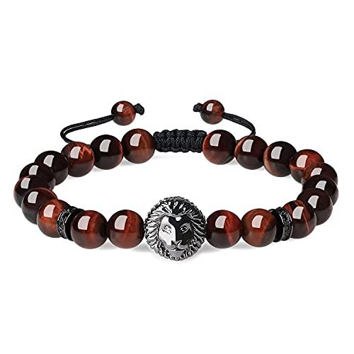COAI Pulsera para Hombre de Ojo de Tigre Rojo con Amuleto León