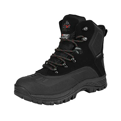 NORTIV 8 Men's 180411 Black Insulated Waterproof Construction Hiking Winter Snow Boots Size 10.5 M US