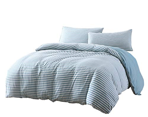 Chezmoi Collection Levi 2-Piece Striped Jersey Knit Cotton Duvet Cover Set - Solid Reversible Ultra Soft and Breathable - Comforter Cover with Button Closure and 1 Pillowcase (Twin, Nile Blue/Gray)
