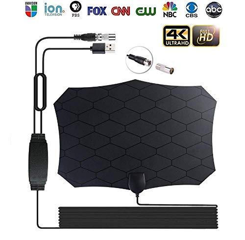 Indoor HD Digital-TV-Antenne, Mini 4K Indoor-TV Satelliten-Antenne Mit Verstärker DVB-T2 50 Meilen Reichweite Verwendet Für Lokale Kanäle Mit 12Ft Kabel
