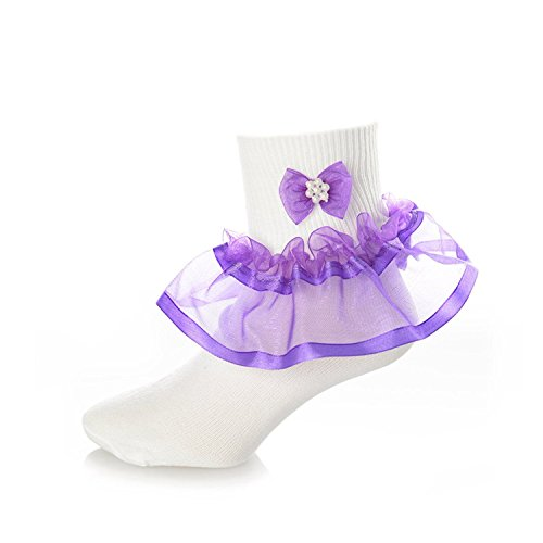 DressForLess Multi Color Girls Socks with Color Ruffled Organza Lace and Ribbon, White Purple, Baby 0 - 2