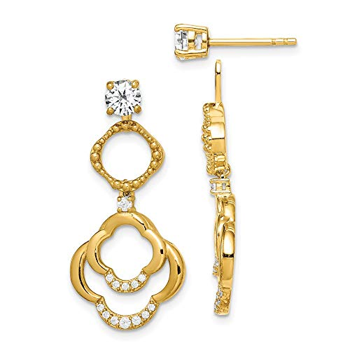 925 Sterling Silver Gold Tone 4mm Round Cubic Zirconia Cz Post Stud Earrings Drop Dangle Chandelier Ear Jacket Jackets For Studs Set Fine Jewelry For Women Gifts For Her