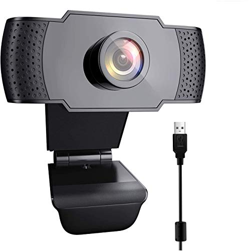 Webcam 1080P HD mit Mikrofon USB Kamera Fixfokus Lichtkorrektur für PC Mac Laptop für Streaming, Konferenzen, Online Unterricht, Videoanrufe